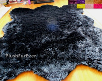 bear faux fur rug fake animal skin fur large size bear grizzly black polar bear living
