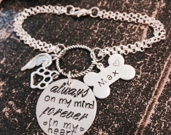 Pet Memorial Jewelry - Bracelet with Personalized Name Charm - Always on My Mind, Forever in My Heart