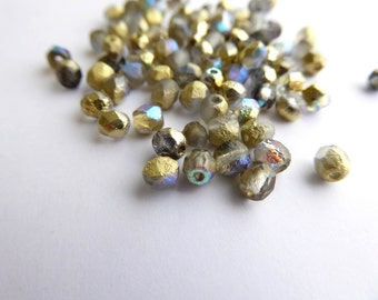 120 x Etched Crystal Golden Rainbow Round Faceted Czech Glass Beads 4mm, Etched Round Beads, 4mm Gold Beads RND0259