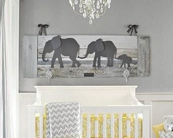 elephant nursery wall navy baby room by authenticaa