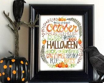 Watercolor Halloween Seasonal Art Print, Subway Word Art, Fall Wall Decor, Typography, Painting, Illustration, Digital Download