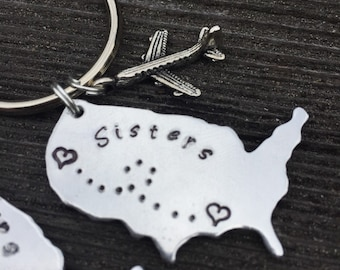 Custom Sisters Long Distance USA Keychain - when one goes off to college, moves away - Hand stamped Brass, Aluminum, Copper with plane charm