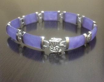 Jade Bracelet - Sterling Silver Purple Jade Bracelet - Silver Bracelet - Jade Jewelry - Handmade Bracelet - Silver Jade Bracelet