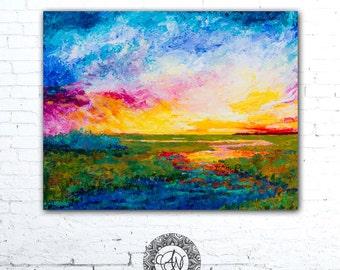 Coastal Painting, Colorful Landscape Painting, Coastal Landscape Art, Coastal Decor, Sunset Painting, Home Decor, Sunrise Painting
