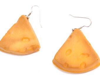 1980s Novelty Slice of Cheese Foam Pierced Dangling Earrings