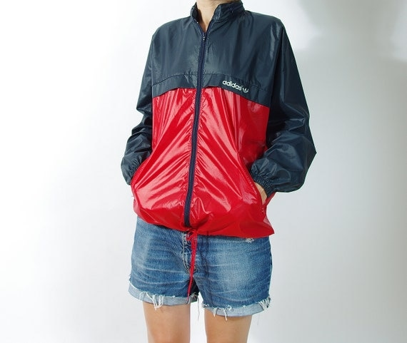 70s adidas oldschool windbreaker hidden hoodie nylon jacket. Black Bedroom Furniture Sets. Home Design Ideas
