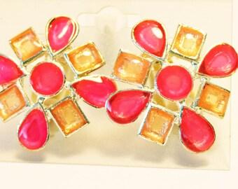 VINTAGE CLIP-ON Earrings Pink Sunburst Retro Clip Earrings 1 inch Pink Vintage Earrings