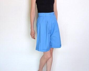 90's blue bermuda shorts, creased shorts,  blue shorts, retro shorts size medium, flared shorts, preppy shorts