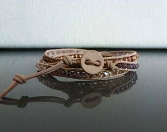 Crystal Leather Wrap Bracelet - Copper Rose Colorway