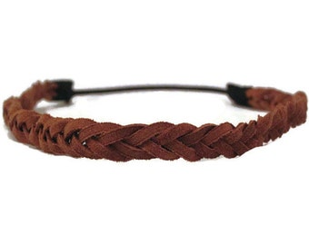 Braided Headband / 5 Strand Leather Headband / Brown Bohemian Suede Headband / Hippie Headband / Womens Halo Headband Girls Gift