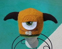 crochet beanie hat,monsters university,halloween costume,childrens clothes,character hats,handmade gifts,horns cosplay,hats for boys,items
