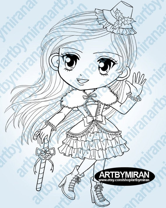 Christmas Digital Stamp-Hey Miss Santa,Girl and Candy cane Coloring Page, Instant Download Digi Stamp, Line Art for Card & Craft