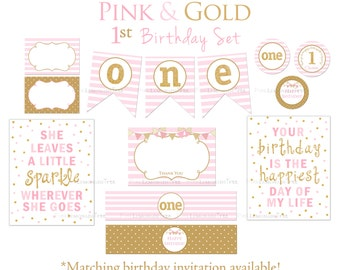 Pink and Gold First Birthday Party Package, First Birthday, One, Decorations, Food Bar Labels, Banner, Thank You Card, Printable, DIY