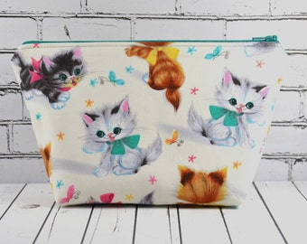 Kitsch Cats Makeup Bag, Cute Cats Cosmetic Pouch