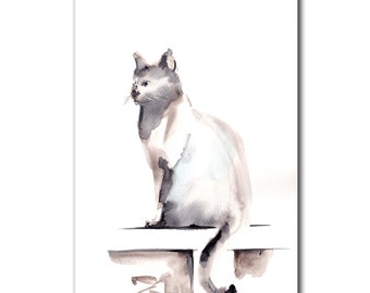 Cat Original Mininalist Watercolor Painting, Cat Watercolour Art