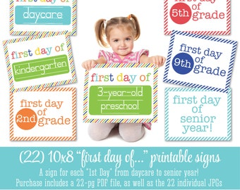 Printable First Day Of School Signs Pre-K through High School Gender Neutral Boy Girl 1st 2nd 3rd 4th 5th grade daycare - INSTANT DOWNLOAD