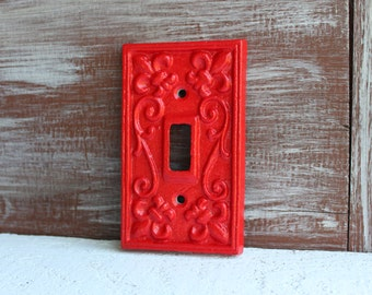 Light Switch Cover, APPLE RED Light Switch Plate, Red Wall Decor, Single Switch Plate Cover, Cast Iron Metal Fleur de lis, Lightswitch Cover