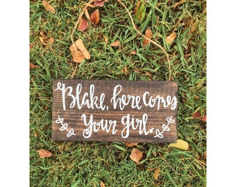 Here comes your girl sign, here comes the bride, country wedding, rustic wedding decor, boho wedding, flower girl sign, ring bearer sign