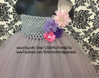 One Shoulder Silver Tutu Dress, Silver Flower Girl Tutu Dress, One Shoulder Flower Girl Dress, Silver Purple Tutu Dress, Silver Tutu Dress