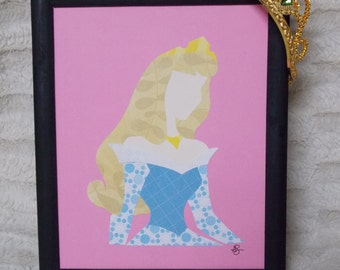 Paper Art - AURORA: blue dress - Sleeping Beauty -Handmade - Silhouette Style - READY to SHIP