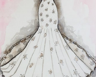 Custom Wedding Dress Watercolor