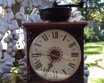 SALE VIntage Spartus Coffee Grinder Electric Wall Clock