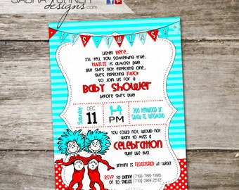 Twins Baby Shower Invitation • Thing One Thing Two Baby Shower Invitation • Twins Baby Shower • Dr. Suess Baby Shower Invitation • Dr. Suess