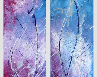 """Abstract Painting, diptych, art, large, colorful, acrylic, titled: Trektocht, 30x 90 cm two times (12""""x 32"""")"""