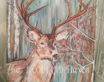 Woodland Stag Painting canvas Art