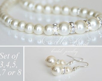 Bridesmaid Pearl Jewelry set of three, set of four, set of five, set of six, set of seven, set of eight Earrings Necklace set of 3,4,5,6,7,8