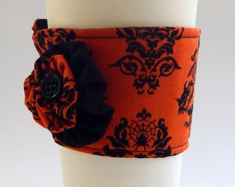 Coffee Cup Cozy / Halloween Cup Cozy / Drink Sleeve / Jack O Lantern / Damask / Cup Cozy / Orange & Black / Pumpkins / Bats