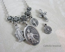 St. Maximilian Kolbe Choose 2 Charms Necklace - Miraculous Medal Mary Eucharist Crucifix Saint Symbol Jewelry  Confirmation Stainless Steel