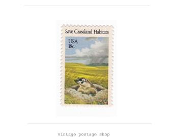 10 Unused Vintage Postage Stamps - 1981 18c Badger - Item No. 1922