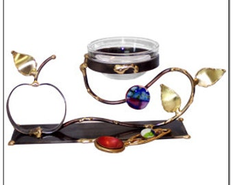 Apple and Honey Set Made from Metals, Leaves and Dichroic Glass