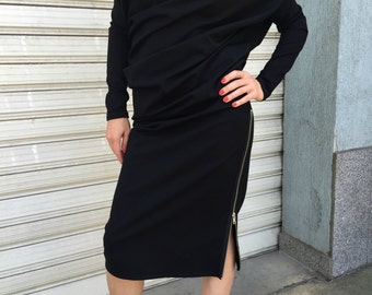 Asymmetrical Loose Long Sleeves Dress / Extravagant Black Kaftan / Oversized dress / EXPRESS SHIPPING / MD 10191