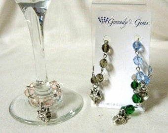 Wolf wine glass charms - set of 4 - WG059