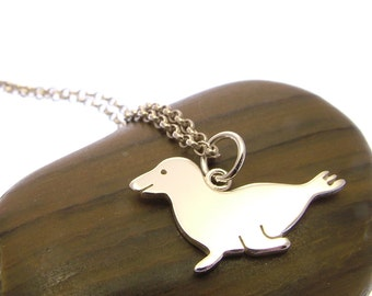 Sterling Silver Seal Necklace - Seal Jewellery - Animal Jewellery - Seal Gifts
