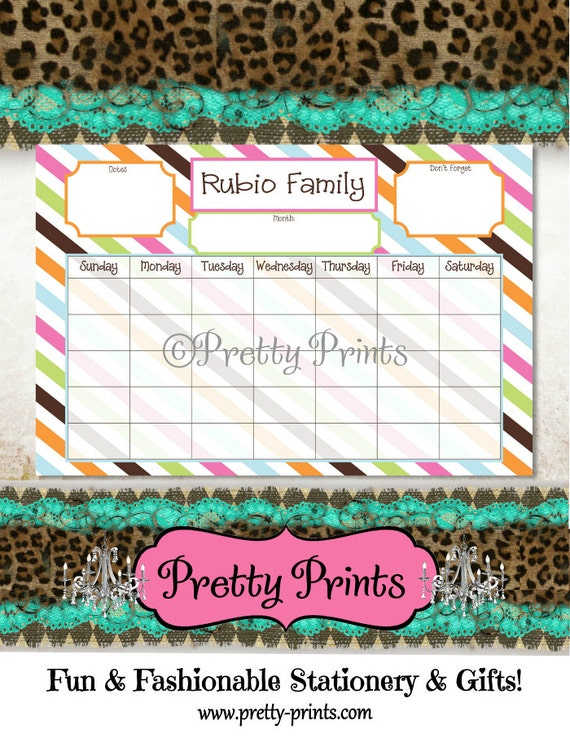 Family Calendar - Family Planner - Desk Calendar - Colorful Stripes - 11 x 17 - Personalized Pad - Organizer