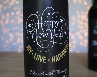 Happy New Year Chalkboard Wine Label Gold Wine Label Holiday Wine labels Personalized Wine Gift New Years Wine Label Gift Party Favor Custom