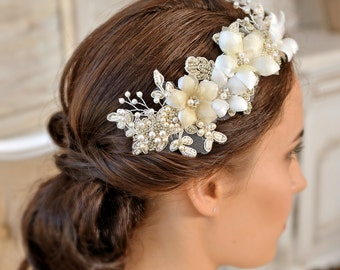 PATRICIA - Wedding Hair Comb Bridal Hair Comb Ivory Champagne Bridal Hair Flower Lace Headpiece Wedding Headpiece UK