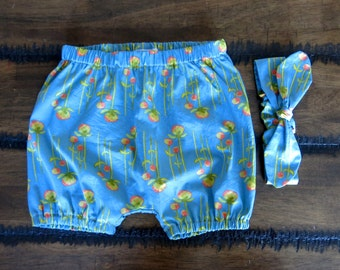 Organic Baby Bloomers /baby clothes/blue flowers/ Girls Knotted Headband / Bubble bloomers / Retro baby clothes/ hipster baby clothes