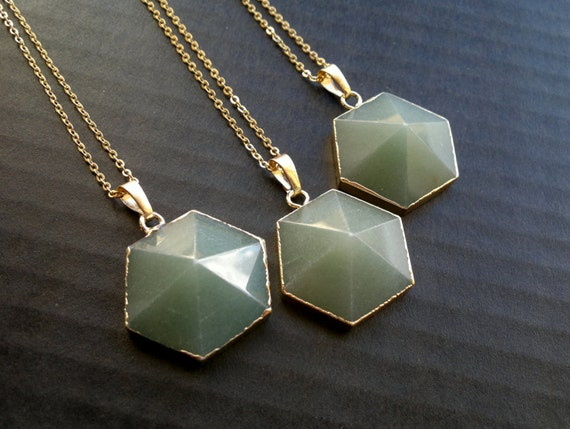 Clearance Aventurine Necklace Stone Pendant Necklace Hectagon