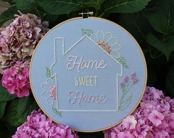 Home Sweet Home. Pastel Floral Hand Embroidered Grey Gray 10 Inch Hoop. Flowers Art. Gallery Wall. Housewarming Gift. Home Decor. New House.