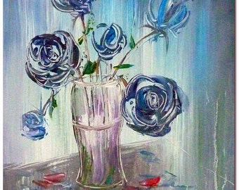 Hand Painted Blue Rose Painting On Canvas -  Modern Impressionist Flower Floral Fine Art CERTIFICATE INCLUDED