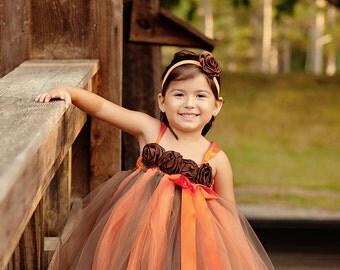 Fall Headband, Orange and Brown Headband, Satin Rosette Headband, Rosette Headband, Baby Headband, Toddler Headband