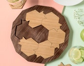 Pomegranates and honey hive 3 in 1 Puzzle + Set of coasters + a wooden tray. Original Rosh Hashanah gift for holidays,  Gift from Israel