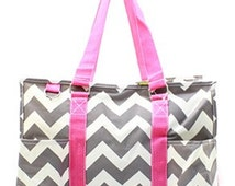 Monogram utility tote/Pink and Gray chevron utility tote/carry all/ large  diaper bag
