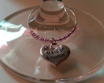 Maid Of Honor Wine Charm, Wedding favor, Wine Charms, Wedding gifts
