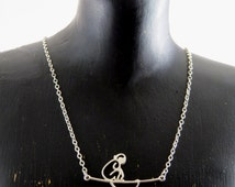 Sterling silver monkey necklace, monkey and a tree branch necklace, primate necklace, monkey pendant, monkey connector