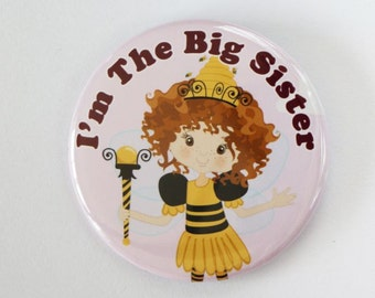 I'm the big sister,i'm the big sister button badge pin,bumble bee baby shower,honey bee,i'm going to be a sister,what will it bee party